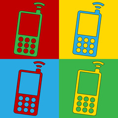 Pop art phone symbol icons.