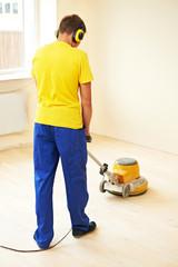 Parquet Floor maintenance by grinding machine