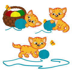 kitten playing with balls of yarn - vector illustration,eps