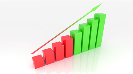 Growth graph 3d illustration isolated white background