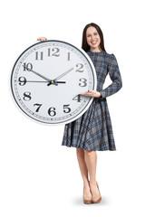 woman holding big white clock