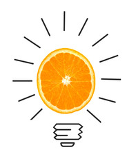 Inspiration concept of orange as light bulb metaphor for good id