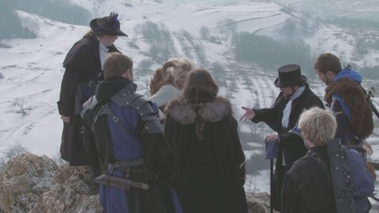 Group of Adventurers meeting on mountain