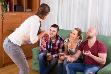 adults playing charades