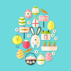 Easter Flat Icons Set Egg shaped with shadow over blue