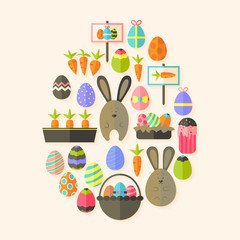 Easter holiday Flat Icons Set  Egg shaped with shadow over beige