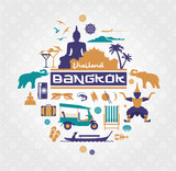 Fototapety Vector set of Bangkok - Thailand