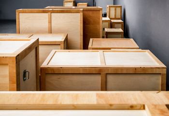 group of wooden boxes