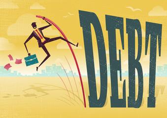 Businessman Pole Vaults over the Debt problem.