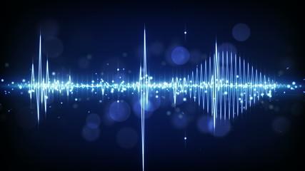 blue audio waveform techno loopable background 4k (4096x2304)