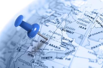 Location Saudi Arabia. Blue pin on the map.