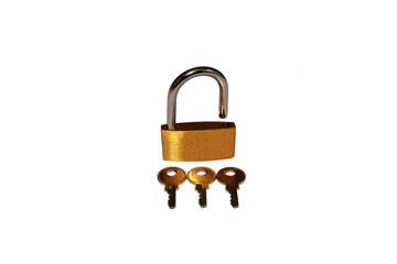 Opened padlock and keys isolated on white background