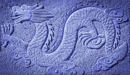 Chinese blue dragon carved in the rock