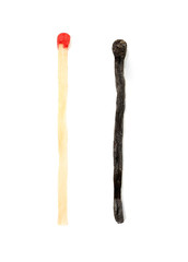 Match and burnt match isolated on white