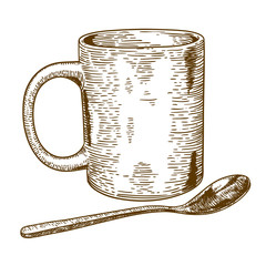 engraving antique illustration of  mug and spoon