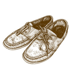 engraving  illustration of old shoes