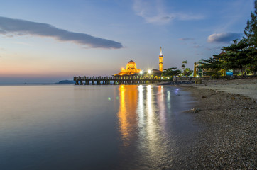 Malaysian Mosque with Water Reflection