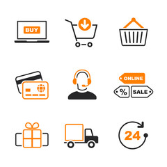 Online shopping simple vector icon set