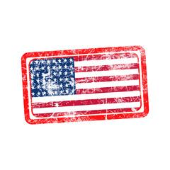 usa flag red grunge rubber stamp vector illustration