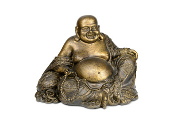 Smiling Buddha brass figurine on white with clipping path.