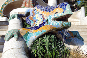 park guell detail fontain