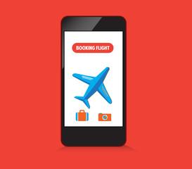 booking flight on smartphone