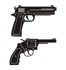 handgun, revolver silhouette