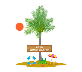 Palm with Banner for summer vacation