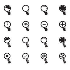 Magnifier Glass and Zoom Icons set