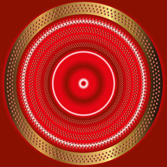 Abstract themed red background with shiny dotted circles