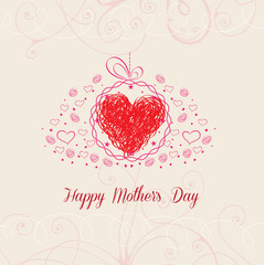 Happy Mothers's Day with heart greeting card