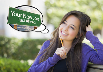 Young Woman with Your New Job Sign Thought Bubble