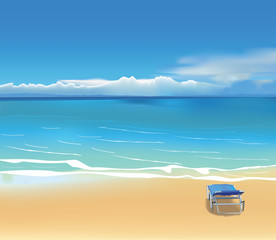 Blue deck chair on beautiful beach