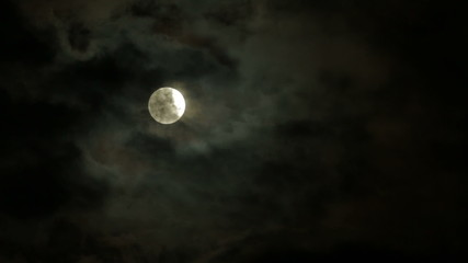 Bright Moon In Dark Clouds At Night