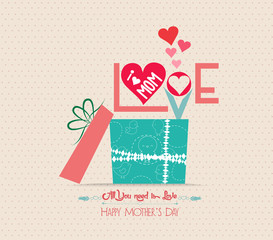 mothers Day love greeting card with gift