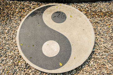 Stone of Yin-Yang symbol in Rongkhun Temple
