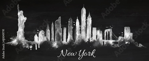 Silhouette chalk New york - 80049791