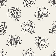 doodle boat seamless pattern background