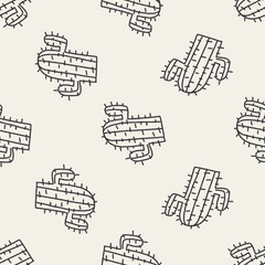 doodle cactus seamless pattern background
