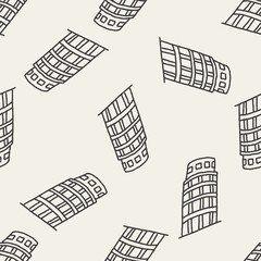 doodle Leaning Tower of Pisa seamless pattern background