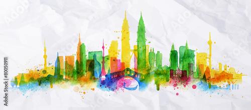 Silhouette overlay city Kuala Lumpur - 80050911
