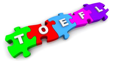 TOEFL. Надпись на разноцветных пазлах