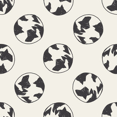 Doodle Globe seamless pattern background