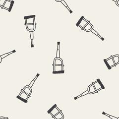 Doodle Crutch seamless pattern background