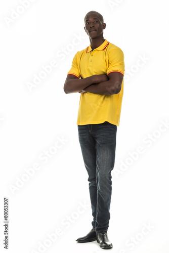 Poster Black man in short sleeve collar shirt on white background