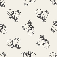 Doodle Puppet seamless pattern background