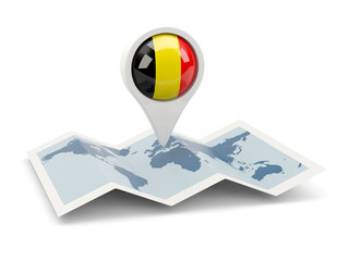 Round pin with flag of belgium
