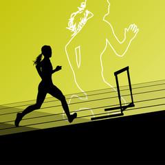 Active women girl sport athletics hurdles barrier running silhou