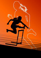 Active women girl sport athletics hurdles barrier running silhou