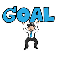Businessman lifting goal